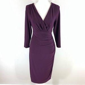 Ralph Lauren purple jersey faux wrap midi dress